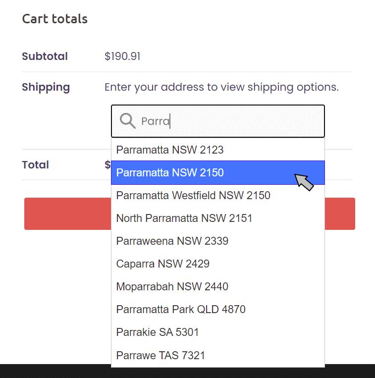 WooCommerce Cart Suburb Entry