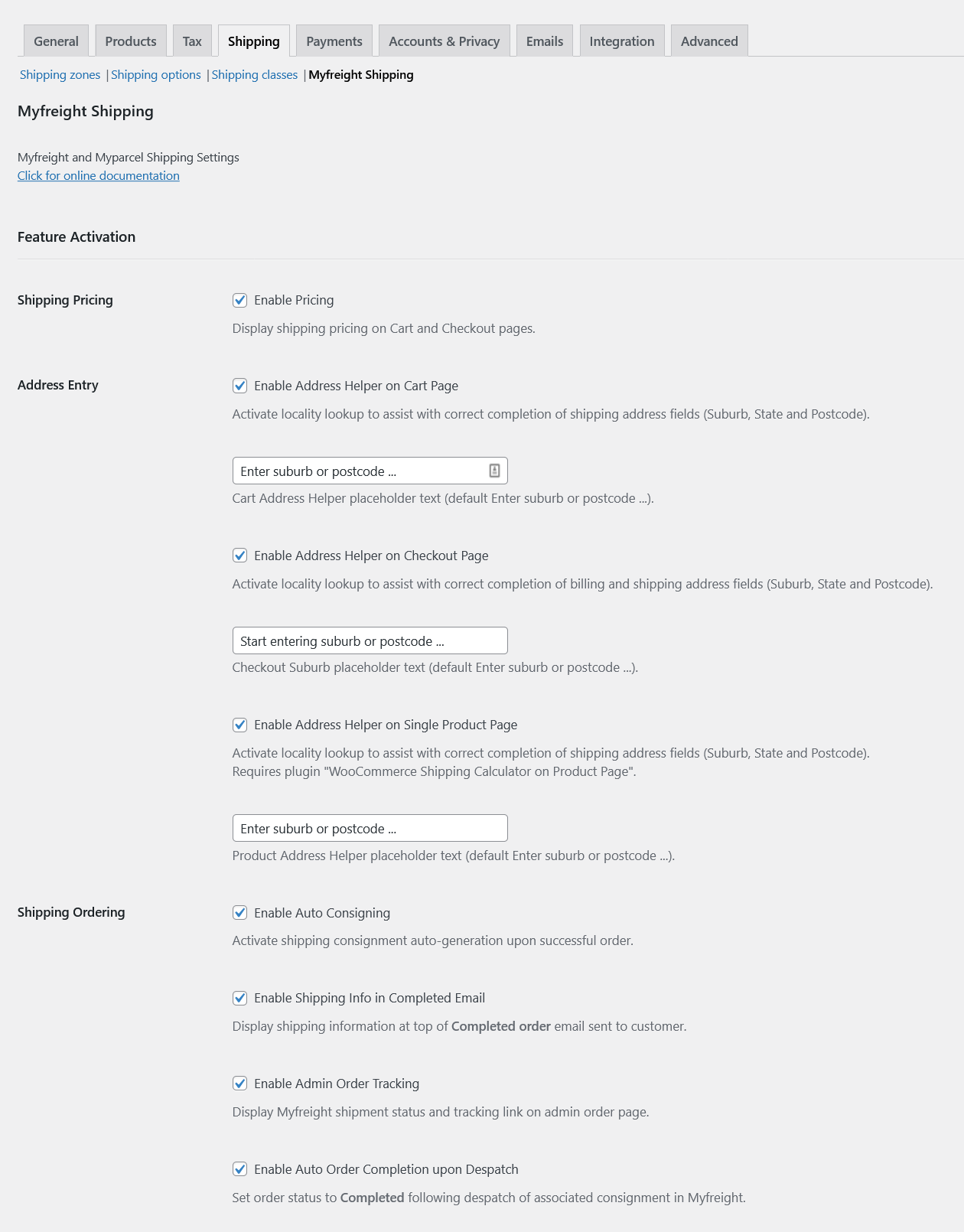 WooCommerce Admin Myfreight Shipping Settings
