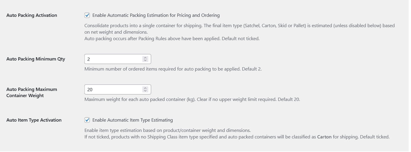 screenshot woocommerce admin auto packing settings